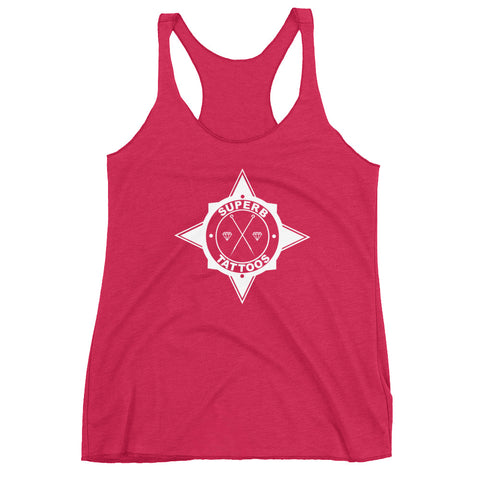 White Superb Tattoos Badge - Women's Racerback Tank