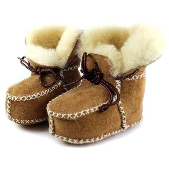 Pre-Walking Sheepskin Wool Bootie Slippers, , Baby Terry, Baby Terry