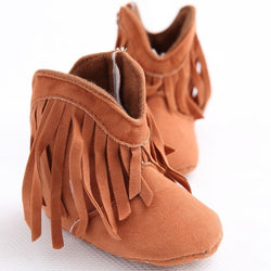 Pre-Walking Solid Fringe Bootie Slippers, , Baby Terry, Baby Terry