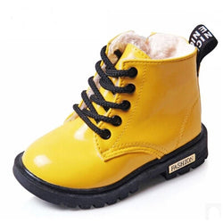 Winter Children PU Leather Waterproof Martin Boots, , Baby Terry, Baby Terry