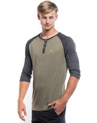 Standard Henley Olive Night/Phantom 3/4 Sleeve - Men's - The Offroader