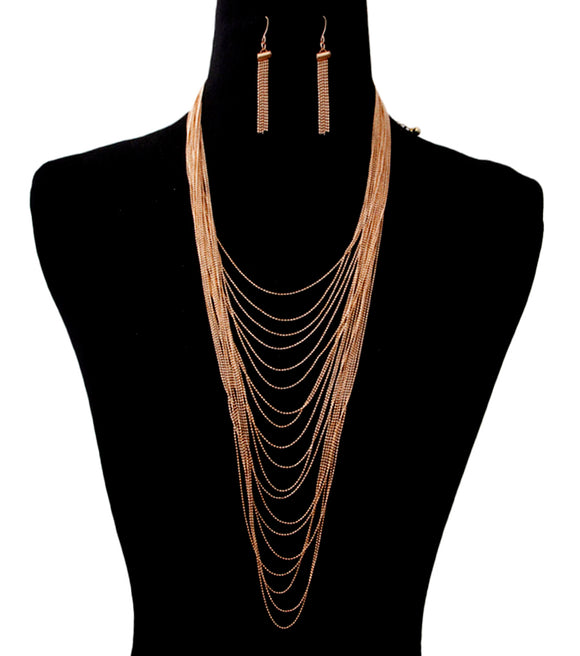 Long Multi Strand  Layered Gold Chain Necklace Set