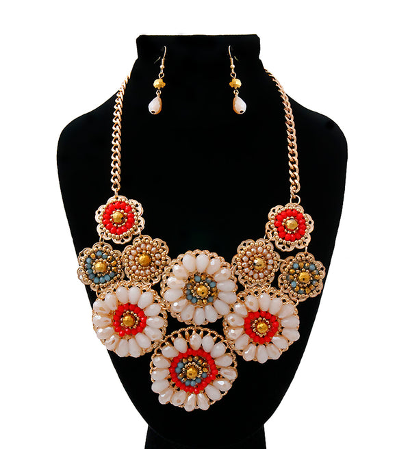 Gold Filigree and Bead Flower Bib Necklace Set
