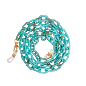 Turquoise Link Mask and Glass Chain