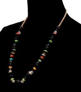 Multi Color and Wood Bead Necklace Set