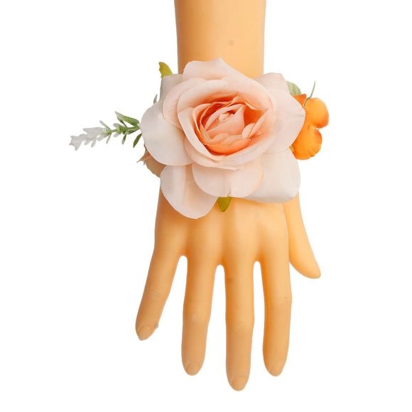 Orange Fabric Flower Bracelet