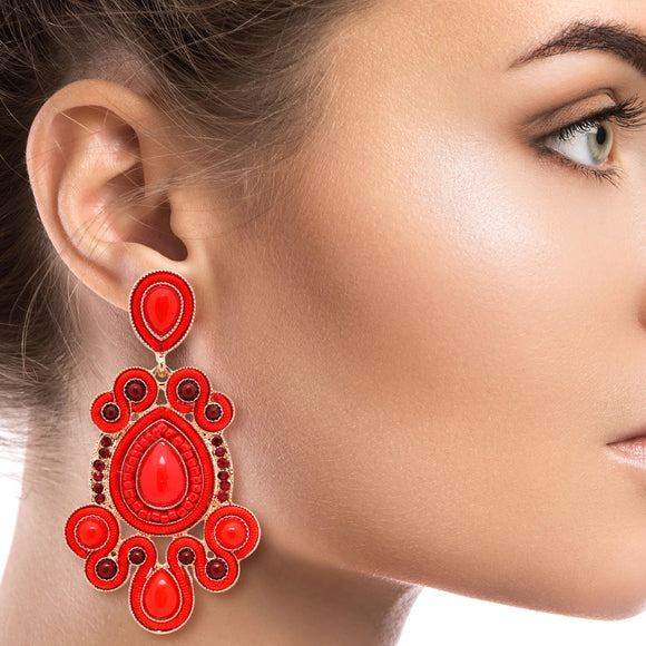 Gold and Red Soutache Earrings