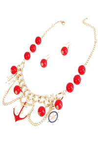 Nautical Theme Red and Gold Necklace
