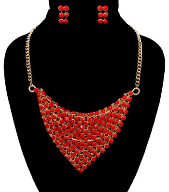 Red Bead Scarf Necklace Set