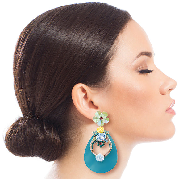 Aqua Teardrop Earrings with Rhinestone and Flower Detail
