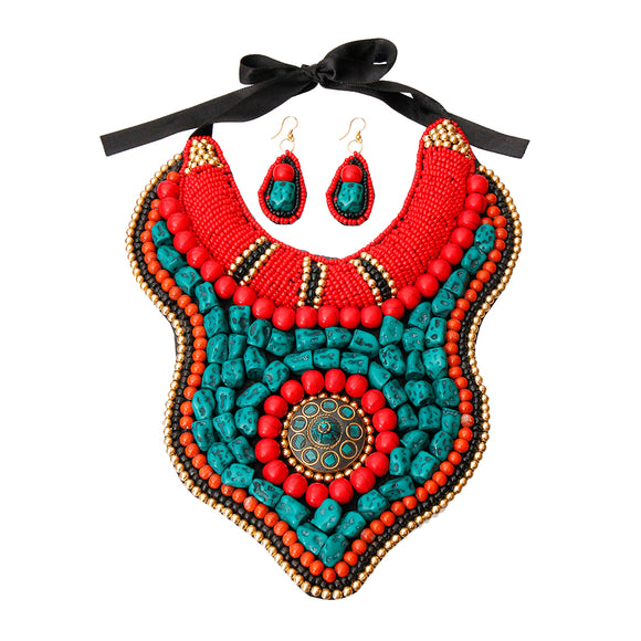 Multi Color Bead and Stone Raised Collar Bib Necklace Set