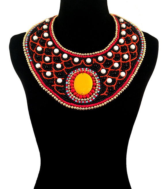 Multi Color with Black and White Bead Embroidered Bib Necklace Set