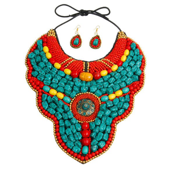 Turquoise and Multi Color Stone Bead Raised Collar Bib Necklace Set