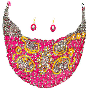 Handmade Fuchsia Chiffon Scarf Necklace Set . Embroidered Sequins Beads and Pearls