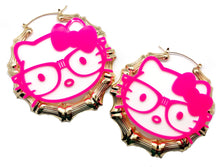 Load image into Gallery viewer, Pink Kitty Bamboo Hoops
