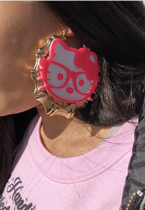 Pink Kitty Bamboo Hoops