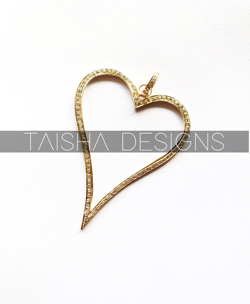 Gold Pave Diamond Heart Pendent - 14KT Yellow Gold Diamond Heart