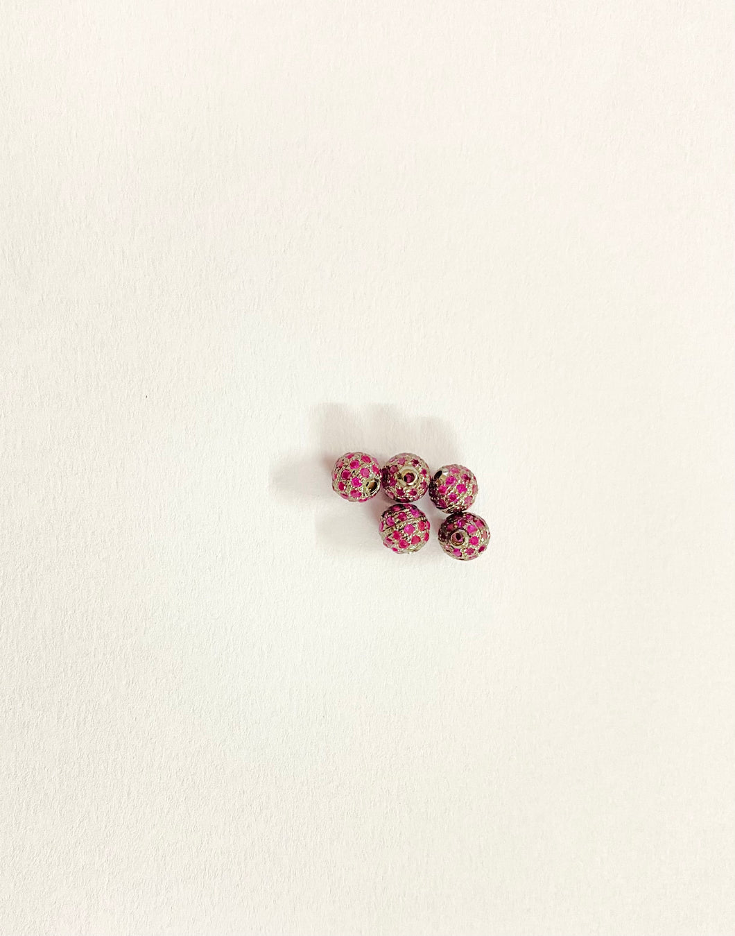 Silver RED Cubic Zircon ( CZ )Beads 6MM