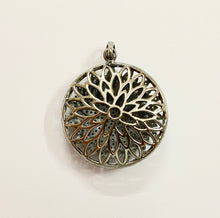 Load image into Gallery viewer, Silver Pave Diamond Flower Pendent