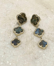 Load image into Gallery viewer, 14KT Gold Diamond Labradorite Earring
