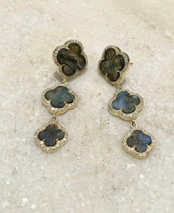 14KT Gold Diamond Labradorite Earring