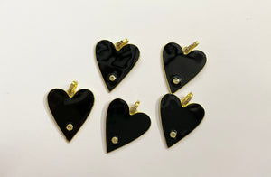 Silver Diamond Enamel Heart Pendent with Gold Polish