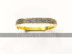Silver Blue Spinal Bracelet Bangle with Gold Polish