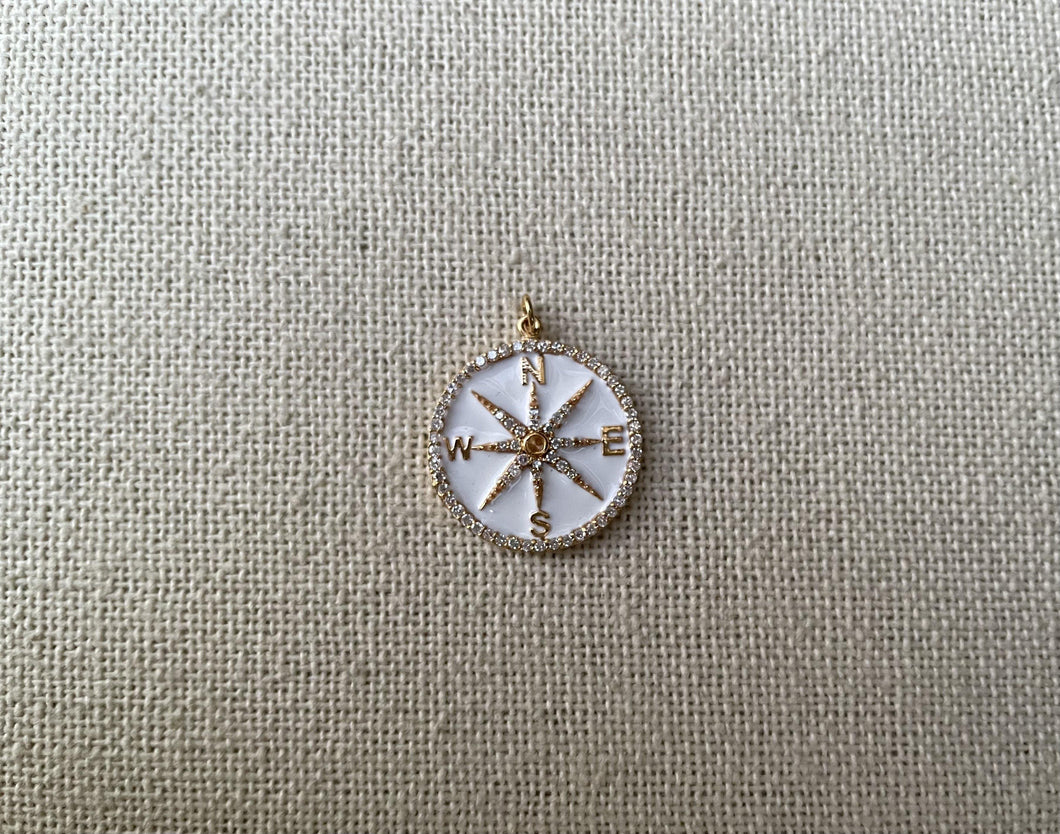 14kt Yellow Gold Diamond Compass Enamel Pendent