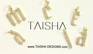14kt Yellow Gold Diamond Letters Pendent