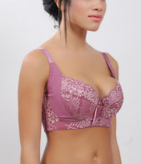 Bra For Women - Elegant Floral Lace Padded Cotton Cup #11129