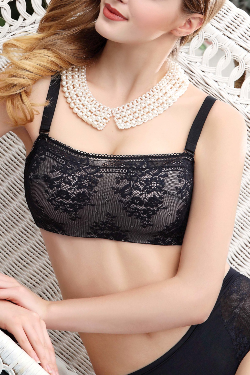 Push Up Cami Lace Bralette for Women - Underwired Padded Bandeau Bra Tube Top with Crystal Embellishment #11311