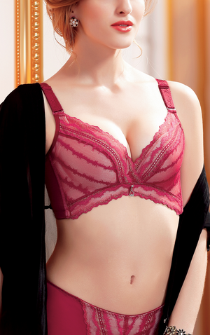 Push Up Bra for Women with Butterfly Wireless Floral Lace Design - No Underwire #18166