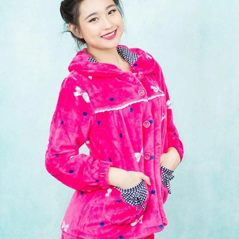 Pink Bow Button Down Pajamas | Soft Sleepwear