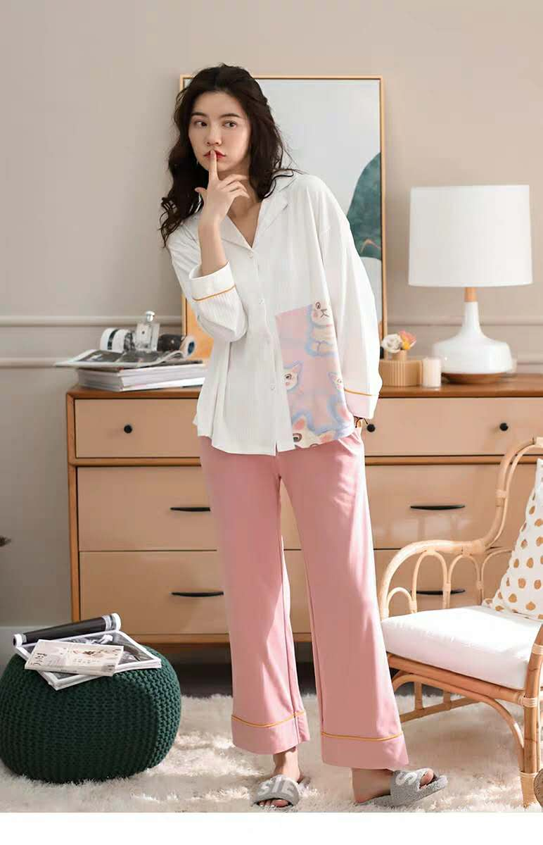Bradoria Sweetheart Women's V-Neck Pajamas - Long Sleeve Top and Pants PJ Sets #3310