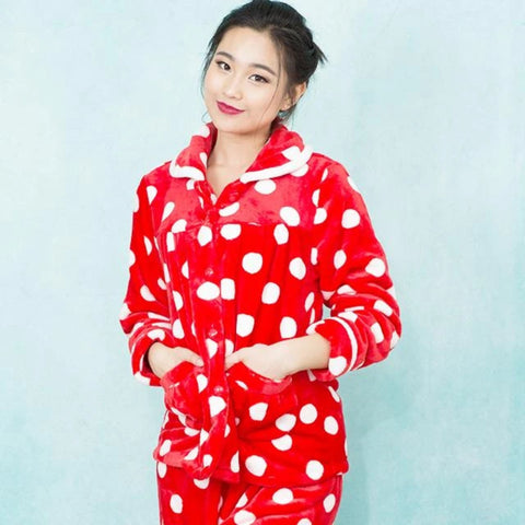 Playful Polka Dot Pajamas | Bright red color