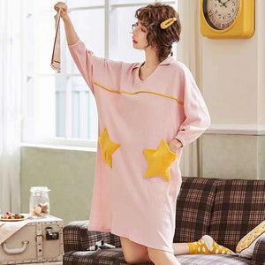 Starry V-Neck Women's Sleepshirt - Cute Long Sleeve Nightgown with Pocket #5590