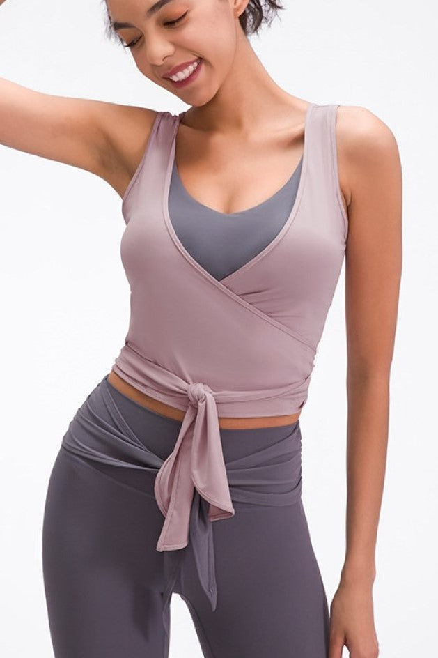 Tied V Neck Active Tank