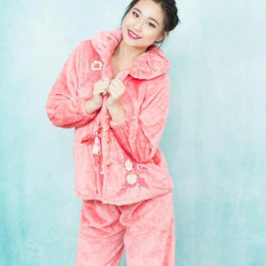 Floral and Ribbon Pajamas |  Pink Velvet Pajamas