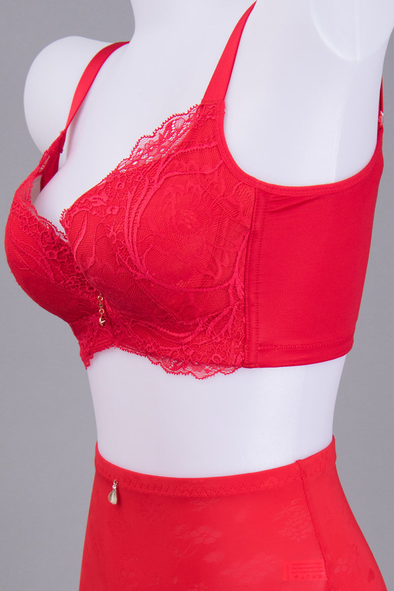 Push Up Lace Bra for Women - Wireless Thick V Cup Cotton Underwire #11541