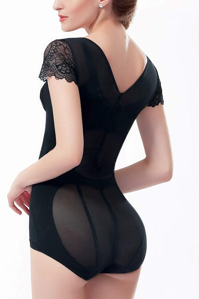 Sexy Mid-Sleeve Triangle Bodysuit #21060
