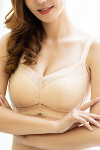 Minimizer Wireless Bra for Women - Lace Embroidery, No Underwire Supportive Comfortable Plus Size Bra C - DDD #15701