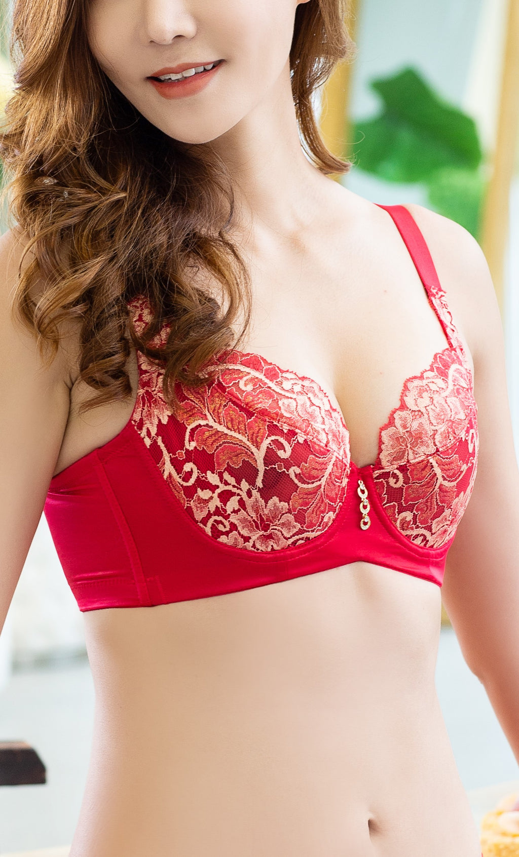 Lace Full Coverage Bra for Women with Push Up V Cup Wireless Underwire #11608
