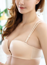 Seamless & Convertible Deep V Square Cut Out Wireless Push Up Bra for Women B Cup #10067