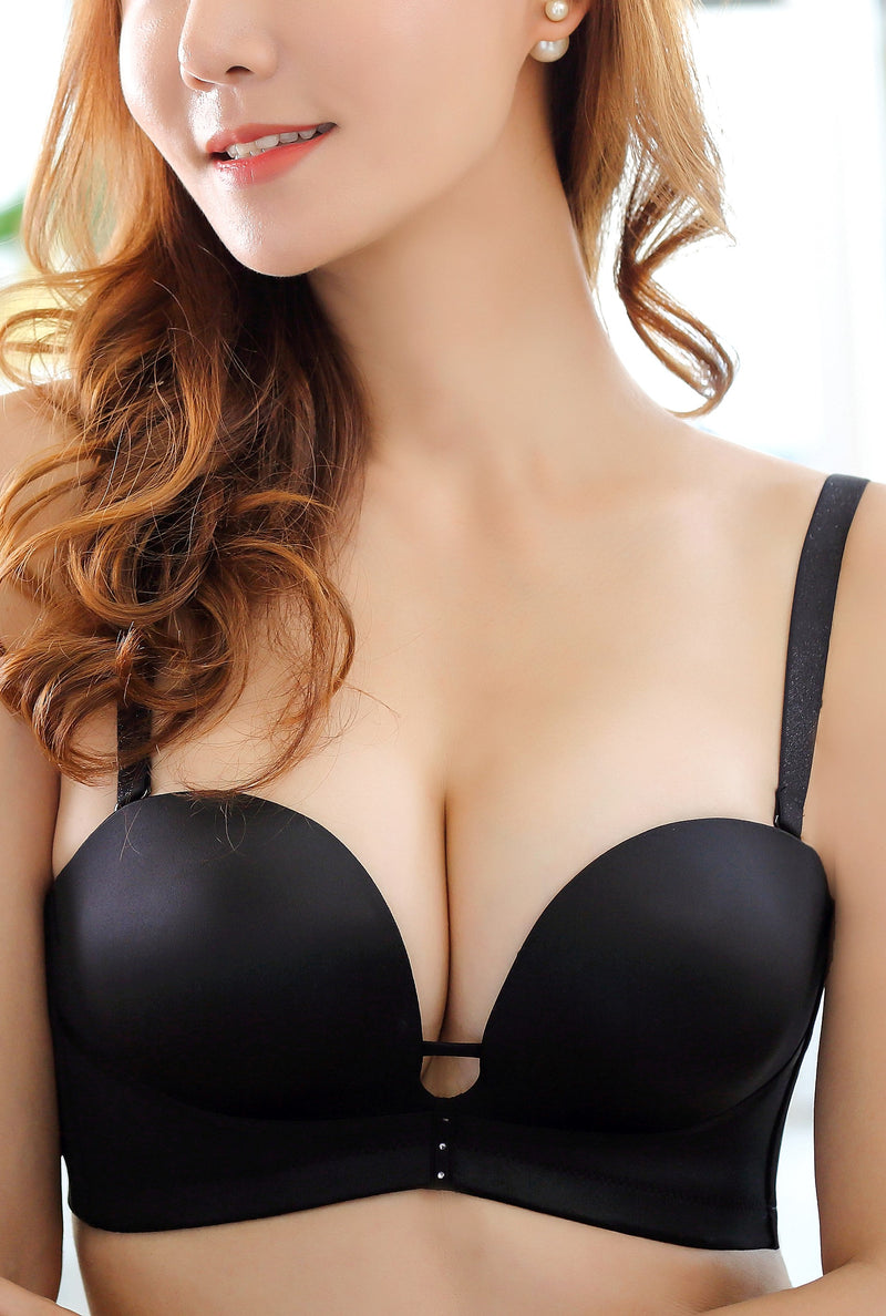 Wireless Multi Way Strapless Bra - Sculptural Mold Cup (Padded) Deep V No Wire Comfortable Strapless Push Up Bra #11824