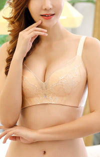 Molded Push Up Bra for Women Wirefree Padded Bralette A to C Cups in Sprout Lace #11623