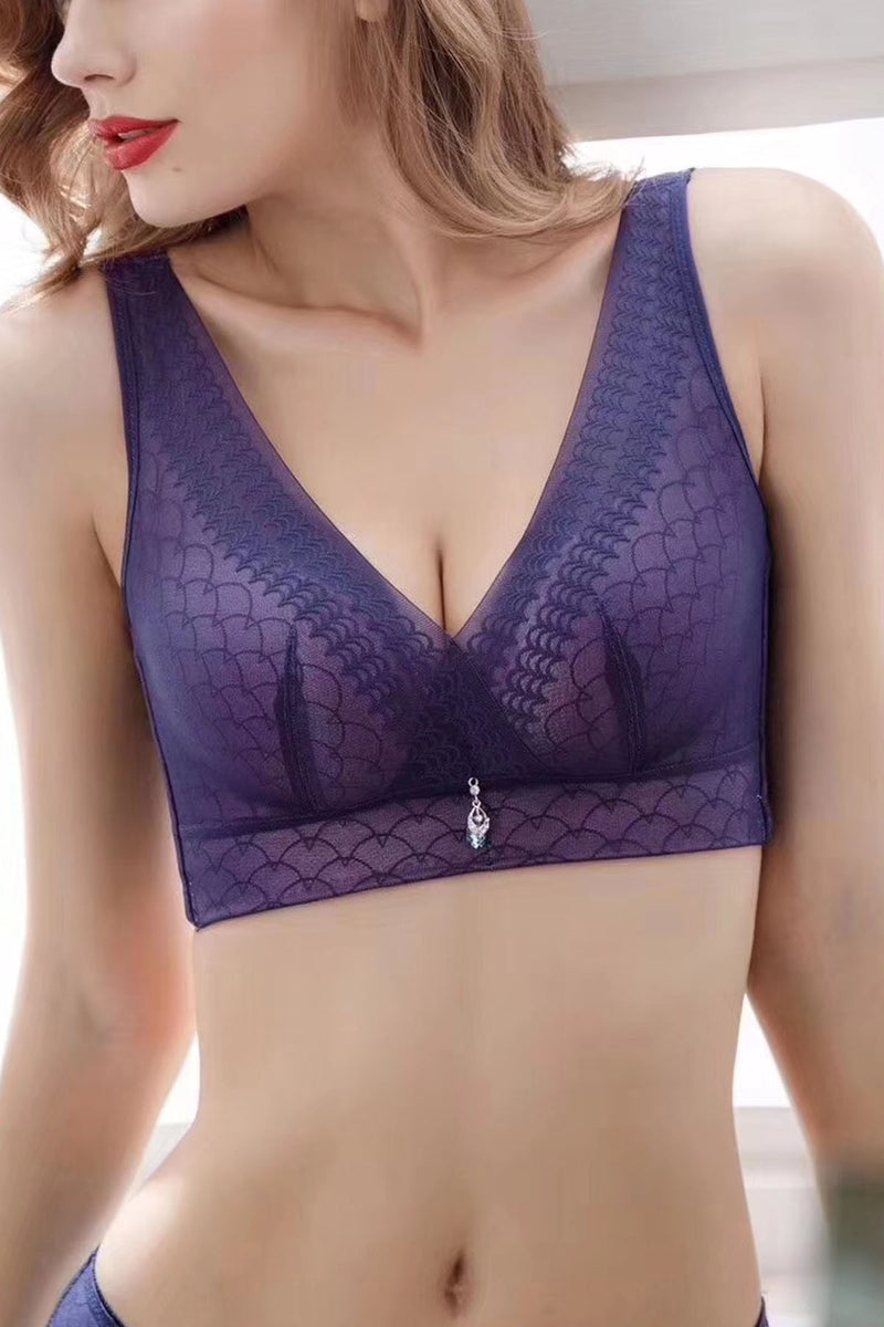 Tank Style Padded Cleavage Bra - Posture Support Corrector Premium Lace Wireless Push Up Bra Shapewear Top #11943