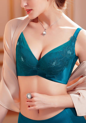 Floral Silk Push-Up Bra | Elegant Flower Bra Lace