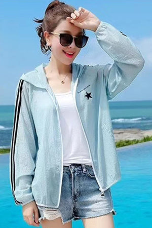 Pastel UV/Sun Protection Hoodie Zip Beach Jacket #19101