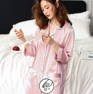 Korean Silk Night Dress For Women - Long Sleeve V-Neck Sweetheart Night Dress #750202