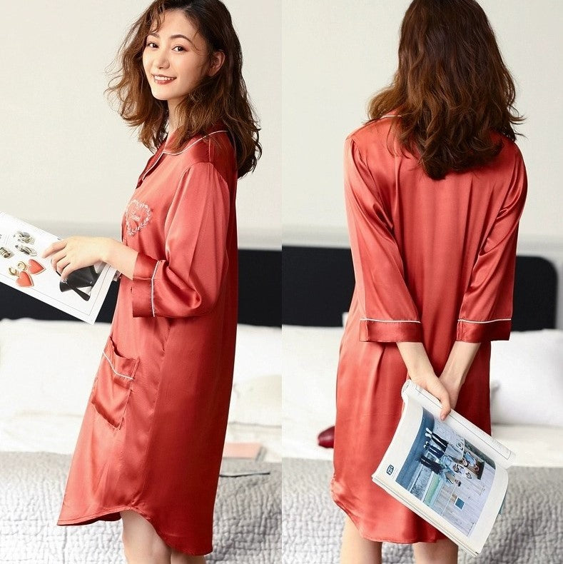 Korean Silk Night Dress For Women - 3/4 Sleeves V-Neck Silk Night Dress with Heart Embroidery #750206